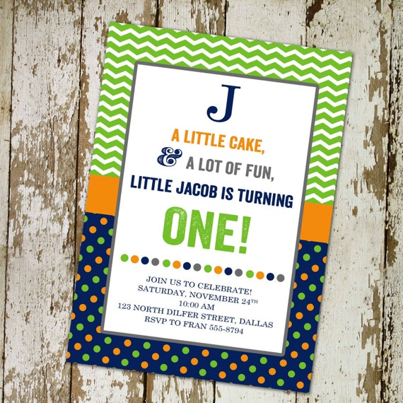 Boy birthday invitation baptism couples baby shower green orange navy polka dots twins coed sprinkle books brunch gender | 208 Katiedid card