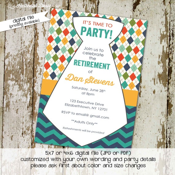 Retirement party invitation necktie 50th 60th 70th 75th birthday chevron argyle baby shower boy adults only coed teal | 276 Katiedid Designs
