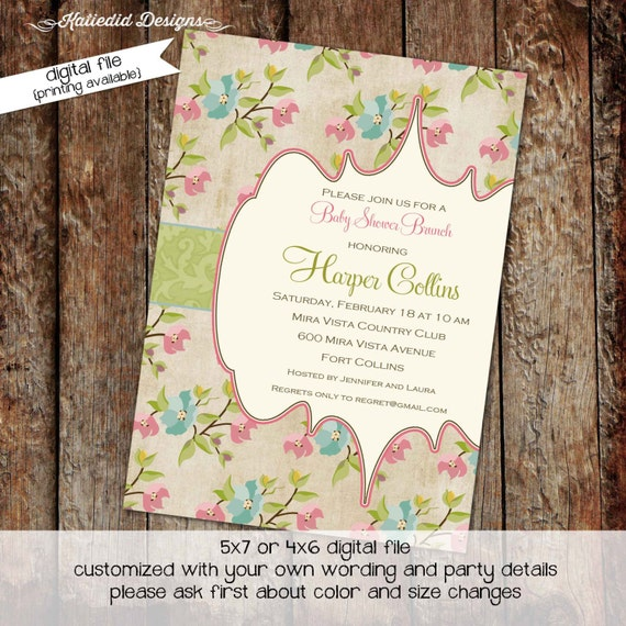 Couples baby shower invitation floral girl rustic gender reveal neutral twins baptism rehearsal dinner stock the bar | 1340 Katiedid Designs