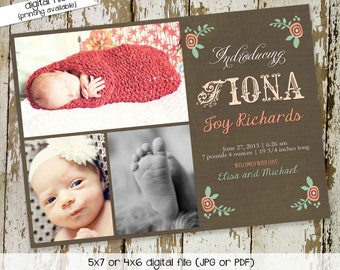 once upon a time storybook birth announcement newborn pictures photo floral ultrasound pregnancy girl floral mint coral   412 Katiedid cards