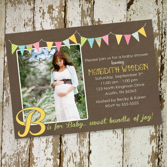 Gender reveal invitation couples baby shower coed pregnancy announcement neutral ultrasound photo picture twins rustic | 1431 Katiedid Cards
