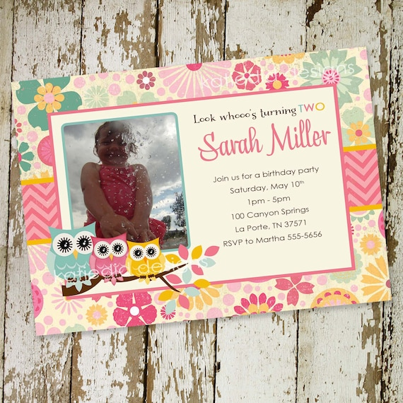 Owl birthday invitation baby shower ultrasound photo pregnancy announcement picture girl couples coed diaper wipes   223b Katiedid Designs