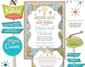 Adventure Awaits Baby Shower Invitation and Bring a Book Enclosure card, Gender Neutral Hot Air Balloon | 1455 Katiedid Designs