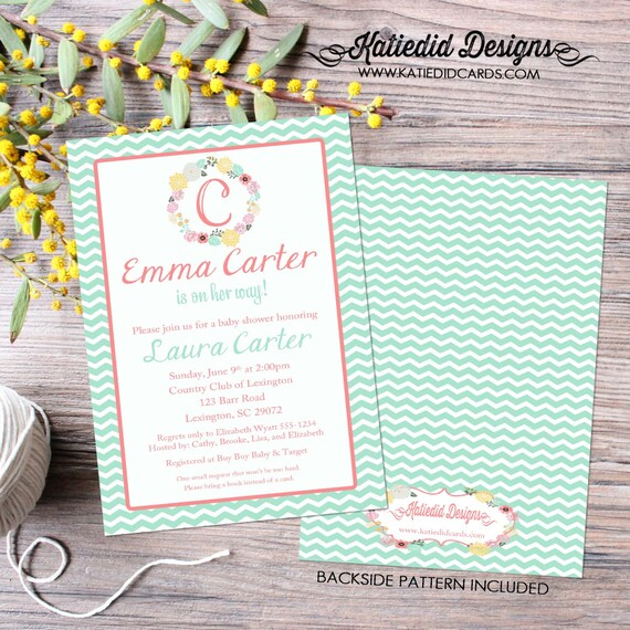 monogram couples shower invitation baby girl sprinkle sip see diaper wipes mint coral chevron floral mimosas coed LGBT | 1353 Katiedid Cards