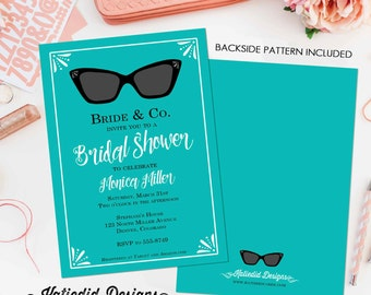 Breakfast at tiffanys invitation Stock the bar couples shower Bridal Shower After party invitation ray ban glasses turquoise   311 Katiedid