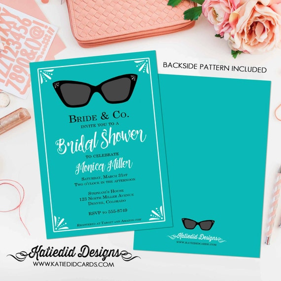 Breakfast at tiffanys invitation Stock the bar couples shower Bridal Shower After party invitation ray ban glasses turquoise | 311 Katiedid