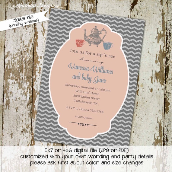 Tea party baby shower invitation gender reveal neutral diaper wipes brunch sprinkle sip see couples coed gray coral | 1453 Katiedid Designs