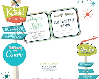 Travel Theme Party Diaper Raffle Ticket, Diaper and Wipes Baby Shower, Adventure Awaits | 12124 Katiedid Designs