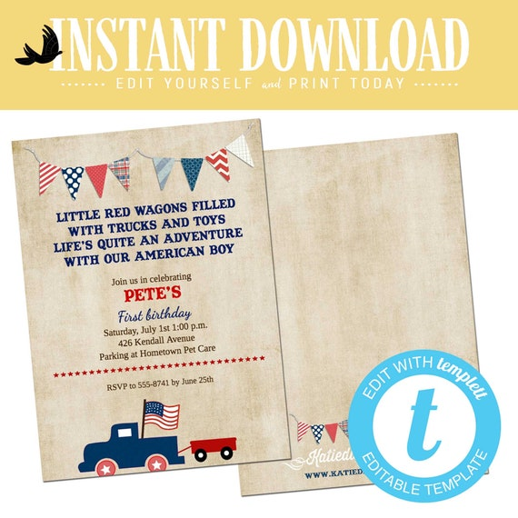 Patriotic birthday invitation retirement party vintage truck all american boy baby shower red blue wagon radio flyer July | 554844 Katiedid
