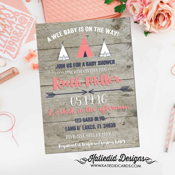 teepee baby shower invitation couples coed wood rustic tribal arrow coral navy diaper wipes brunch girl sprinkle | 1453 Katiedid Design
