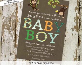 gender reveal invitation monkey boy twins couples baby shower diaper wipes brunch birthday sip see sprinkle coed gay | 1234 Katiedid Designs