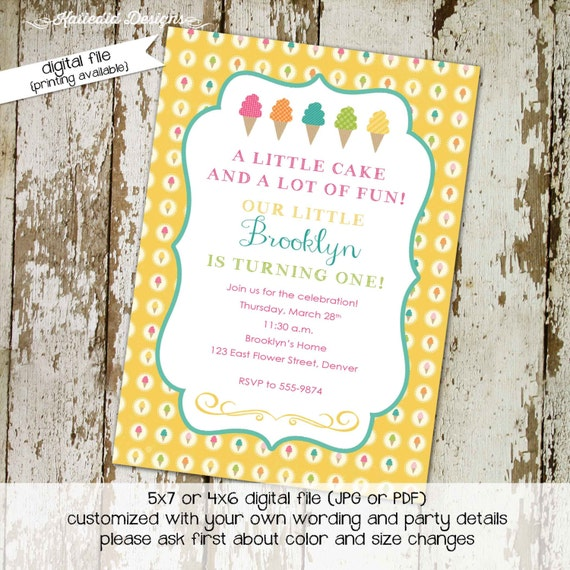 ice cream birthday invitation girl twins gender neutral reveal couples baby shower siblings brother sister coed sprinkle | 235 Katiedid card
