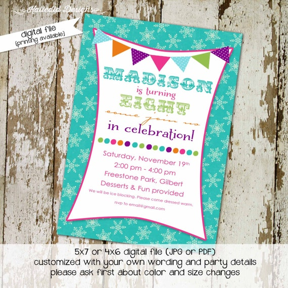 winter onederland invitation little girl 1st birthday invitation bunting banner invite snowflakes teal purple polka dot 279 Katiedid Designs