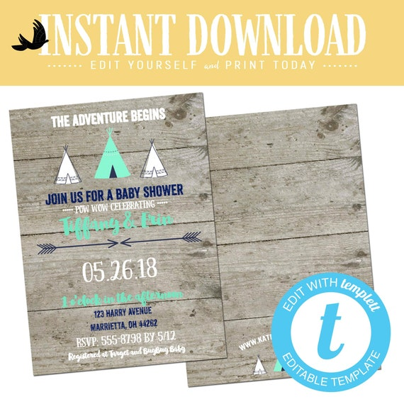 teepee Baby boy shower invitation rustic diaper tribal boho gender reveal neutral navy mint gray twin couple coed editable | 129 Katiedid