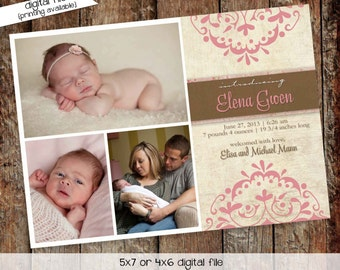 birth announcement card, girl baptism invitation, rustic baby shower invitation   435 Katiedid Designs