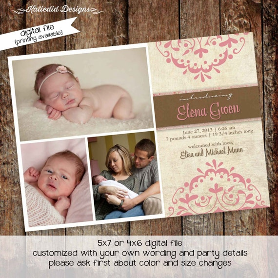 birth announcement card, girl baptism invitation, rustic baby shower invitation | 435 Katiedid Designs