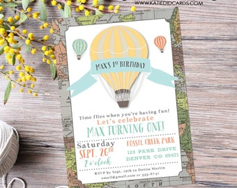 Hot air balloon adventure awaits travel theme birthday invitation gender reveal baby shower oh the places you'll go boy   294 Katiedid Cards