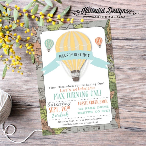Hot air balloon adventure awaits travel theme birthday invitation gender reveal baby shower oh the places you'll go boy | 294 Katiedid Cards