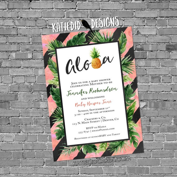 aloha luau Hawaiian invitation pineapple couples baby shower bridal stock the bar I Do BBQ Engagement party gender reveal | 1491 Katiedid