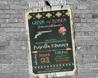 Gender reveal invitation guns or roses twins tribal baby shower cowboy western arrows boho couples coed mint coral | 1488 Katiedid Designs