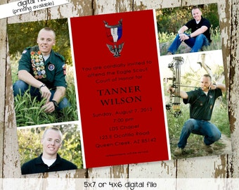 High School Graduation Announcement, Eagle Scout Court of Honor Invitation with Photo Picture LDS Mormon   601 Katiedid Card