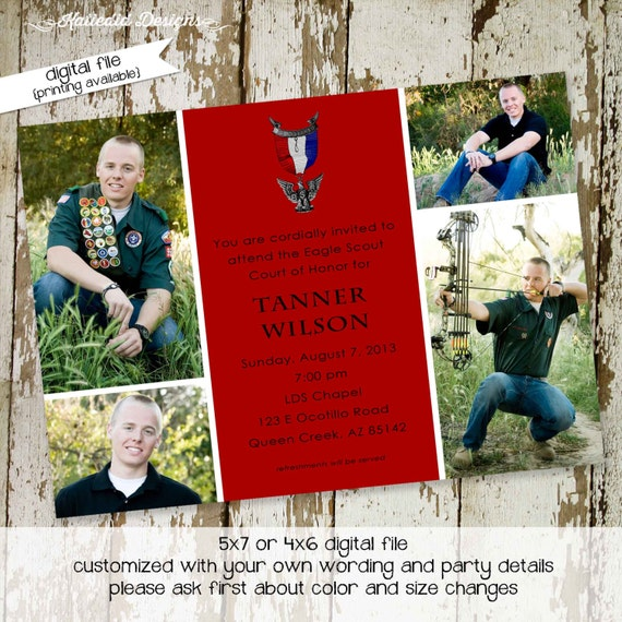 Eagle scout court of honor graduation invitation patriotic LDS announcement high school Boy teenager birthday Mormon | 601 Katiedid Card