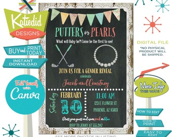 Putters or Pearls Gender Reveal Invitation, Twin Baby Shower, Golf Theme Couple Shower, Edit and Print yourself | 1474 Katiedid Designs
