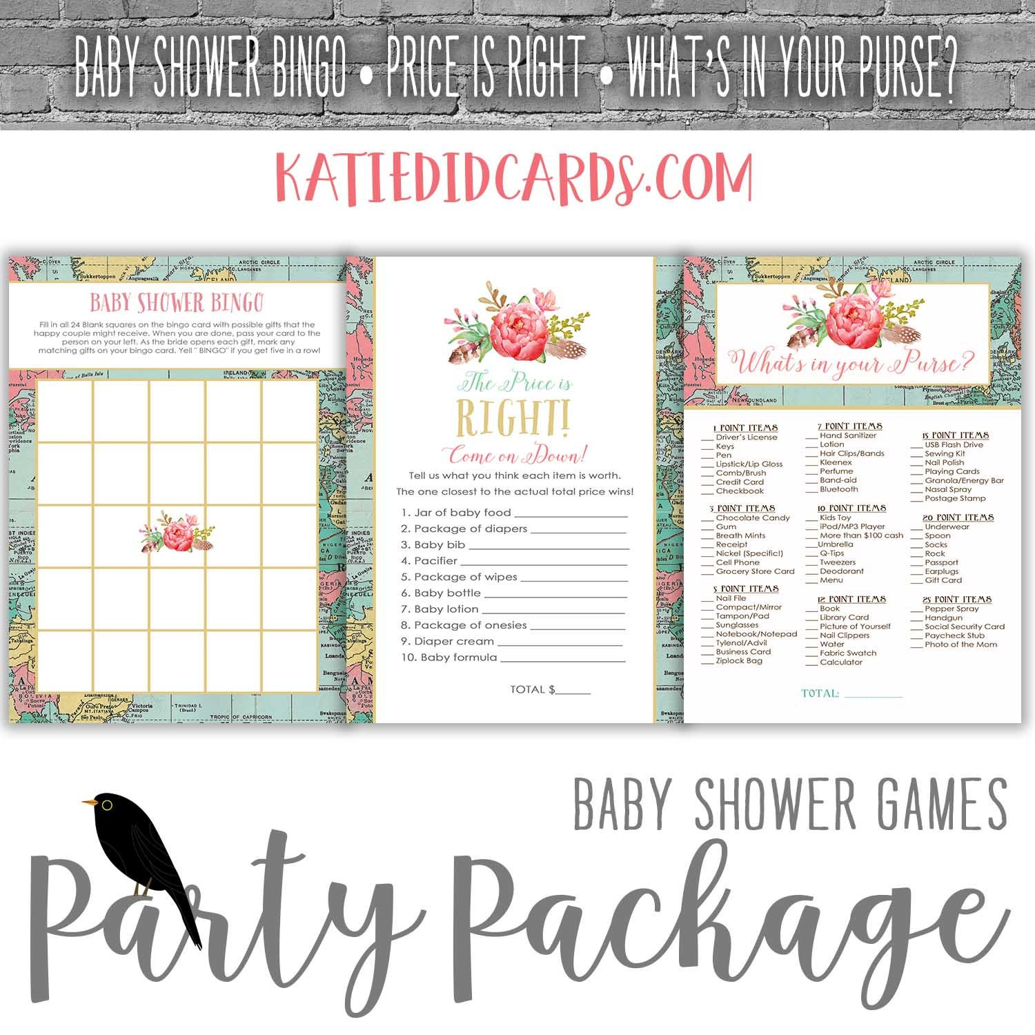 travel theme baby shower party package game world map boho chic coed couples bingo price is