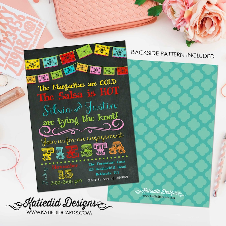 Fiesta Invitation couples shower bridal papel picado stock the image 0