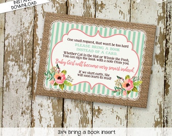 Bring a Book instead of a card enclosure card insert storybook theme library burlap rustic chic burlap lace floral 1346 katiedid designs