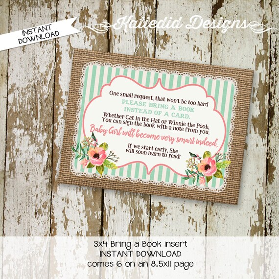 Rustic baby girl Bring a Book instead of a card enclosure card insert storybook theme library floral chic invite burlap 1346 Katiedid Design