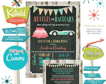Twin Gender Reveal, Ruffles or Racecars Baby Shower Invitation, Gender Neutral Couple Shower | 1473 Katiedid Designs