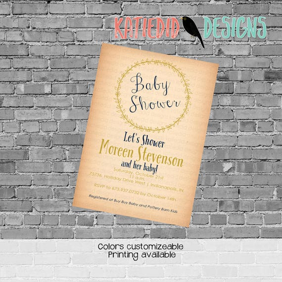 Gender reveal invitation neutral wreath rustic couples baby shower coed sprinkle sip see baptism retirement party navy gold | Katiedid Cards