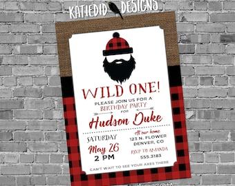 wild one birthday invitation lumberjack buffalo check plaid burlap rustic tribal arrow baby shower couples coed red   2009 Katiedid Designs