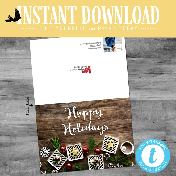 Real Estate Agent Holiday Greeting Card, Christmas card for independent Real Estate, editable folded notecard | Katiedid Designs