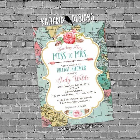 Adventure Awaits travel theme baby shower invitation world map tribal couples coed bridal wedding boho floral gender reveal | 370 Katiedid