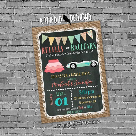 Gender reveal invitation ruffles race cars burlap lace couples baby shower coed neutral he she pink blue twins two moms | 1473 Katiedid Card