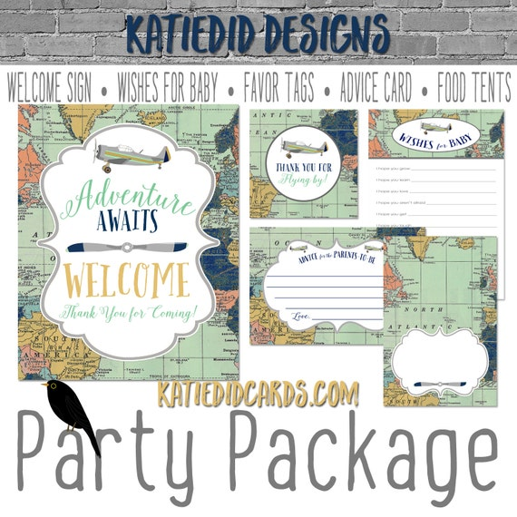 Travel Theme oh the places you'll go baby shower Adventure Awaits airplane world map party package welcome sign tag 12124 Katiedid Designs