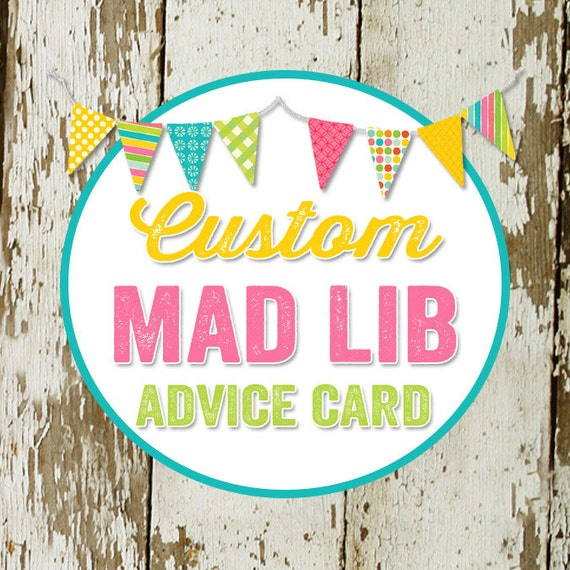 MAD LIB ADVICE card to match any design for baby shower or party, digital, printable file Katiedid Designs cards