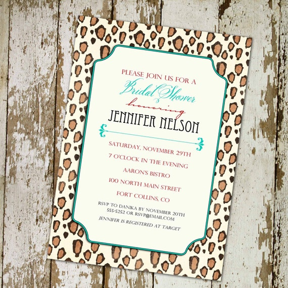 Couples shower Invitation bridal I do BBQ engagement party stock the bar leopard print rehearsal dinner 30th birthday | 357 Katiedid Cards