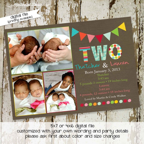 Twins baby shower invitation birth announcement pregnancy ultrasound photo sprinkle sip see diaper wipes couples coed | 407 Katiedid Designs