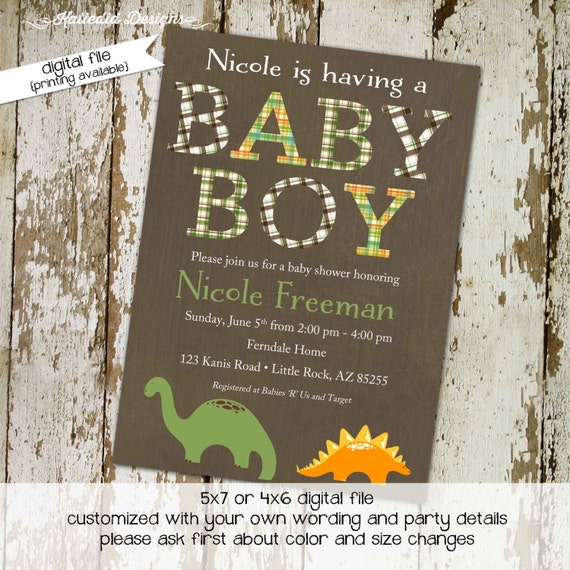 dinosaur couples baby shower invitation boy plaid rustic coed sprinkle sip see diaper wipes books brunch birthday twins | 1206 Katiedid card
