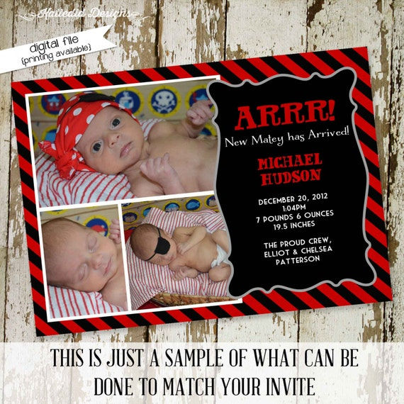 Pirate birth announcement baby shower invitation ultrasound birthday baptism first communion black red stripe skull | 405 Katiedid Design