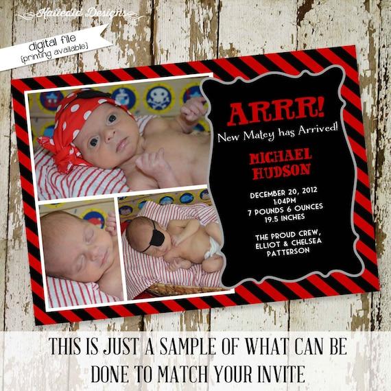 Pirate birth announcement baby shower invitation ultrasound birthday baptism first communion black red stripe skull | 405 Katiedid Design