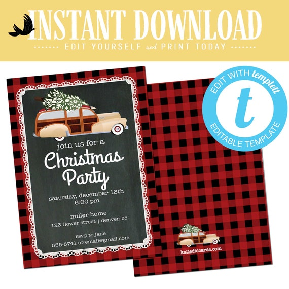 Buffalo Plaid Christmas Party invitation, Ugly sweater holiday party editable templett | 891 Katiedid Designs