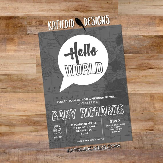 travel theme couples baby shower invitation adventure awaits oh the places you'll go world map hello birth announcement boy | 1481 Katiedid