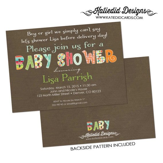 Gender reveal invitation couples baby shower neutral rustic rainbow sprinkle sip see diaper wipes brunch twins coed   1336 Katiedid Designs