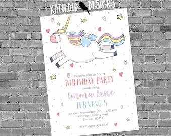 Unicorn birthday invitation baby shower confetti rainbow hearts little girl gender neutral reveal 1st first party   2005 Katiedid Designs