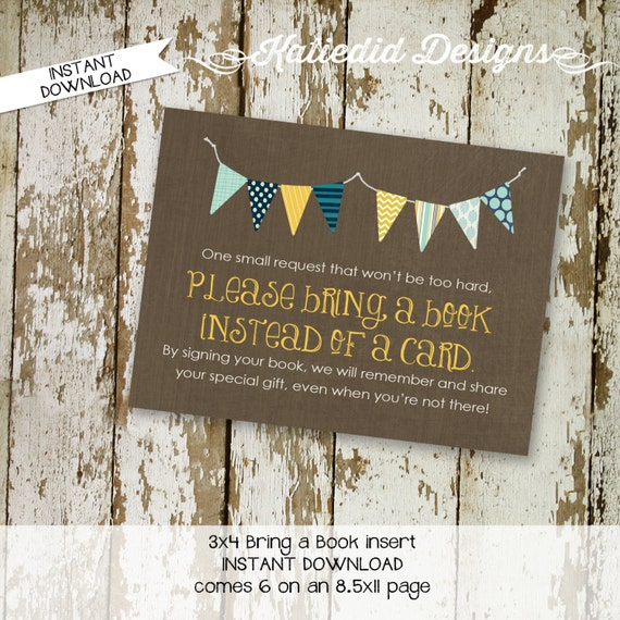 Bring a Book instead of a card enclosure card insert storybook theme build a library Kraft paper bunting banner navy 1240 katiedid designs