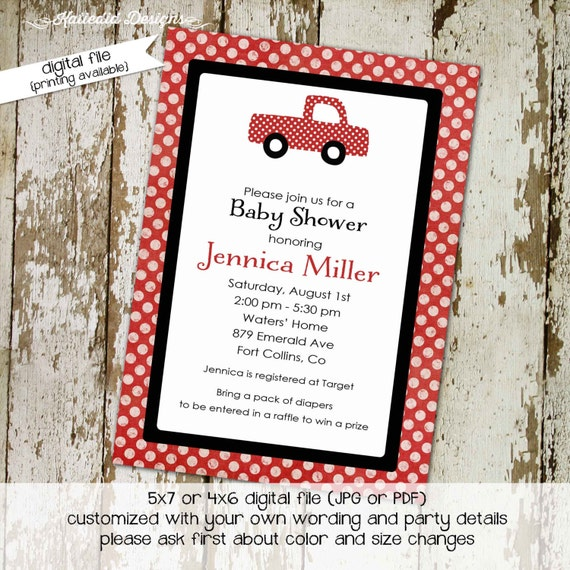 vintage truck couples baby shower invitation boy coed sprinkle diaper wipes brunch sip see birthday twins red black | 1223 Katiedid Designs